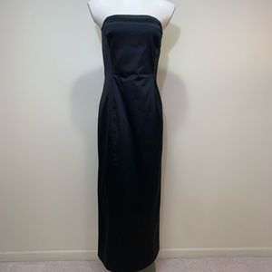 Classic black strapless formal gown